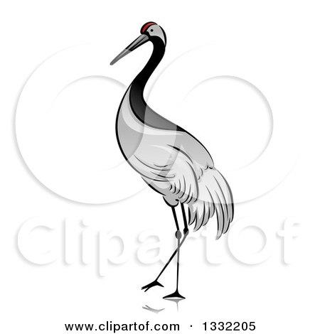 Clipart Of A Walking Crane Bird Royalty Free Vector Illustration