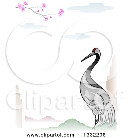 Clipart Of A Crane Bird In An Asian Lanscape Border Royalty Free Vector Illustration