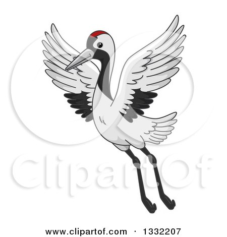 Clipart of a Crane Bird Flying - Royalty Free Vector Illustration by BNP Design Studio