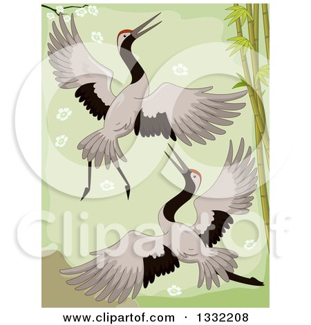 Clipart of a Crane Pair Flying by Bamboo - Royalty Free Vector Illustration by BNP Design Studio