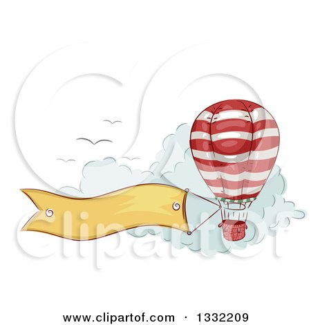 Clipart of a Sketched Hot Air Balloon with a Banner Trailing over Clouds with Birds - Royalty Free Vector Illustration by BNP Design Studio