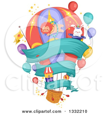 Clipart of a Hot Air Balloon with Carnival Items and a Banner - Royalty Free Vector Illustration by BNP Design Studio