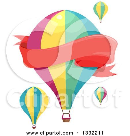 Clipart of a Blank Red Banner and Hot Air Balloons - Royalty Free Vector Illustration by BNP Design Studio