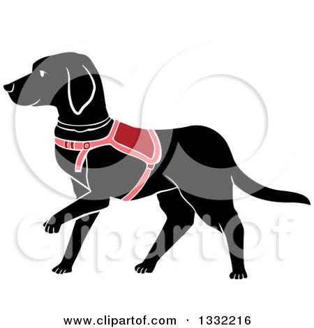 Clipart of a Walking Black Labrador Guide Dog - Royalty Free Vector Illustration by BNP Design Studio