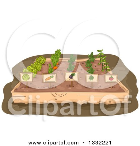 Clipart of a Raised Garden Bed with Rows of Vegetables and Labels - Royalty Free Vector Illustration by BNP Design Studio