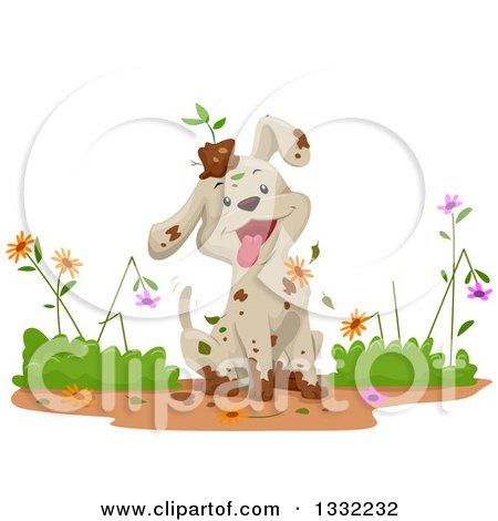 Clipart of a Happy Dirty Puppy Dog Ruining and Playing in a Flower Garden - Royalty Free Vector Illustration by BNP Design Studio