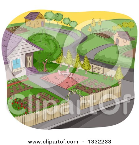 Clipart of a Sketched Neighborhood with a Garden in the Foreground - Royalty Free Vector Illustration by BNP Design Studio