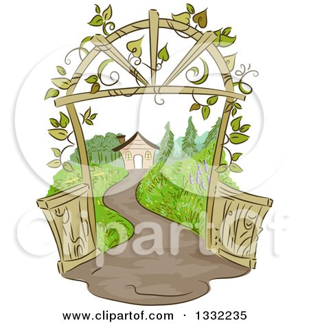 Clipart of a Sketched Pathway Leading to a House with a Vine Covered Arch - Royalty Free Vector Illustration by BNP Design Studio