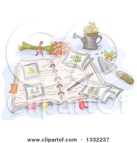 Clipart of a Sketched Open Garden Journal with Flowers and Tools - Royalty Free Vector Illustration by BNP Design Studio