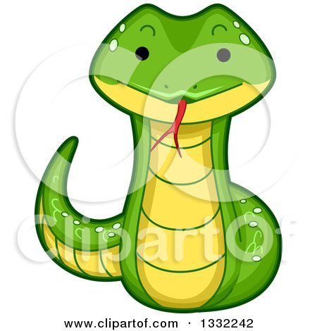 Clipart of a Cute Happy Snake - Royalty Free Vector Illustration by BNP Design Studio