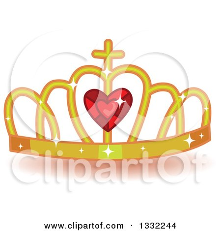 Clipart of a Jeweled Gold and Red Ruby Heart Crown - Royalty Free Vector Illustration by BNP Design Studio