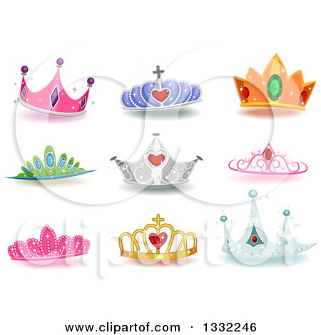 Clipart of Jeweled and Colorful Princess Crowns with Shadows - Royalty Free Vector Illustration by BNP Design Studio