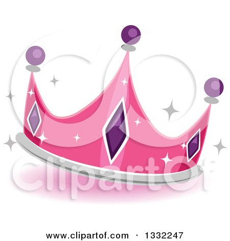 Clipart of a Jeweled Pink Princess Crown - Royalty Free Vector Illustration by BNP Design Studio