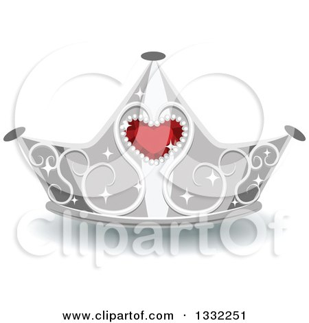 Clipart of a Jeweled Silver and Red Ruby Heart Crown - Royalty Free Vector Illustration by BNP Design Studio