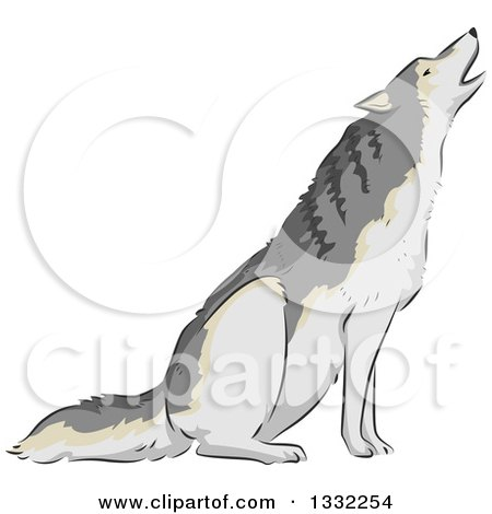Clipart of a Wolf Howling - Royalty Free Vector Illustration by BNP Design Studio