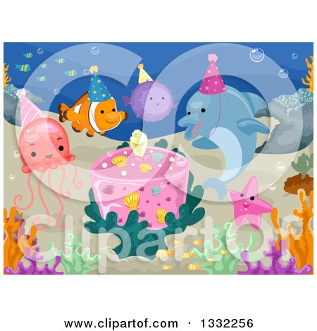 Clipart of Sea Creatures Having a Birthday Party Underwater - Royalty Free Vector Illustration by BNP Design Studio