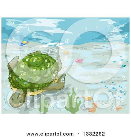 Clipart of a Sea Turtle Swimming Underwater - Royalty Free Vector Illustration by BNP Design Studio