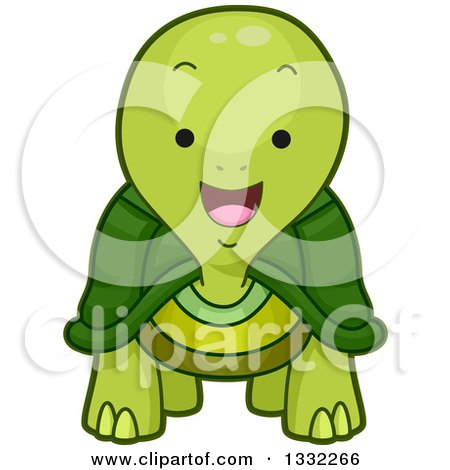 Clipart of a Cute Happy Tortoise - Royalty Free Vector Illustration by BNP Design Studio