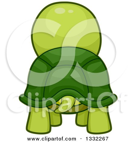 Clipart of a Rear View of a Tortoise - Royalty Free Vector Illustration by BNP Design Studio