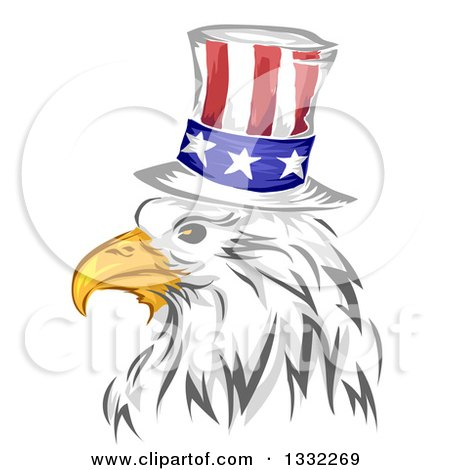 Clipart of a Painted Bald Eagle Head Wearing an American Top Hat - Royalty Free Vector Illustration by BNP Design Studio