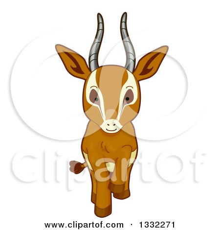 Clipart of a Cute Gazelle Walking Forward - Royalty Free Vector Illustration by BNP Design Studio