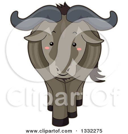 Clipart of a Cute Happy Wildebeest - Royalty Free Vector Illustration by BNP Design Studio