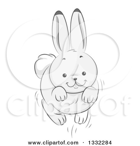 Clipart of a White Bunny Rabbit Leaping - Royalty Free Vector Illustration by BNP Design Studio