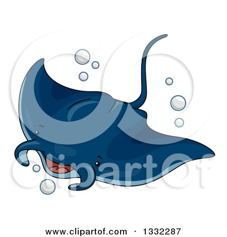 Clipart of a Cute Manta Ray Swimming - Royalty Free Vector Illustration by BNP Design Studio