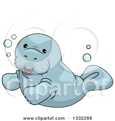 Clipart of a Cute Manatee Swimming - Royalty Free Vector Illustration by BNP Design Studio
