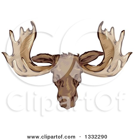 Clipart of a Mounted Moose Head - Royalty Free Vector Illustration by BNP Design Studio