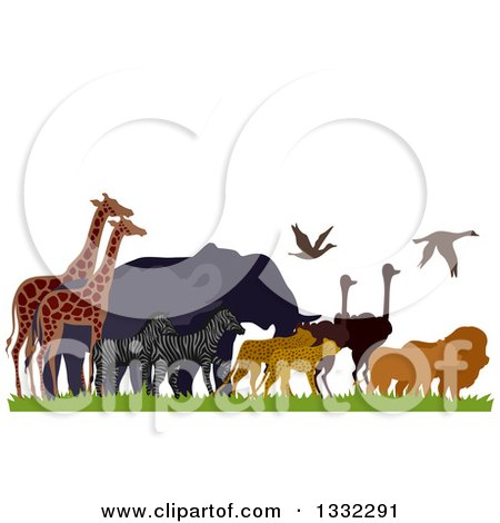 Clipart of a Migrating African Animals, Lions, Ostriches, Leopards, Zebras, Elephants and Giraffes - Royalty Free Vector Illustration by BNP Design Studio