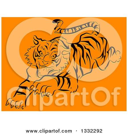 Clipart of a Pouncing Black Stencil Tiger on Orange - Royalty Free Vector Illustration by BNP Design Studio