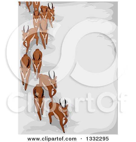 Clipart of a Herd of Migrating Antelope over Snow - Royalty Free Vector Illustration by BNP Design Studio