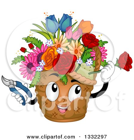 Clipart of a Cartoon Basket Mascot Arranging Flowers - Royalty Free Vector Illustration by BNP Design Studio