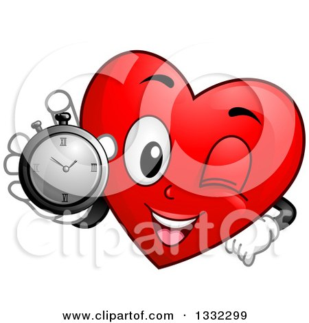 Clipart of a Cartoon Red Love Heart Character Holding up a Stop Watch - Royalty Free Vector Illustration by BNP Design Studio