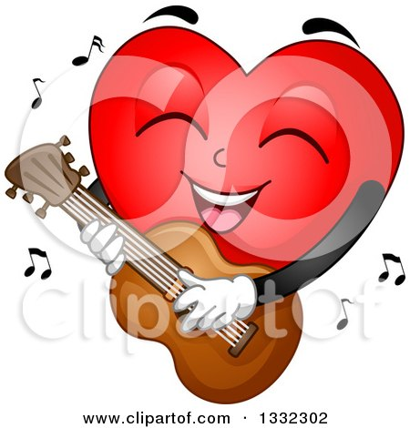 Clipart of a Cartoon Red Love Heart Mascot Playing a Guitar - Royalty Free Vector Illustration by BNP Design Studio