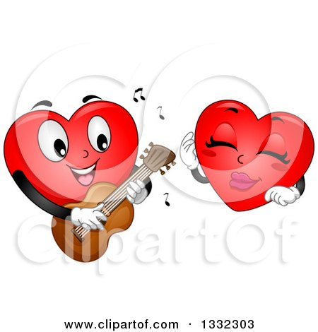 Clipart of a Cartoon Red Love Heart Mascot Playing a Guitar and Romancing a Female - Royalty Free Vector Illustration by BNP Design Studio