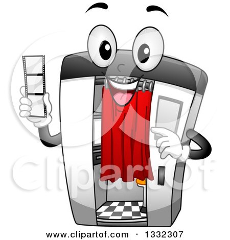 Clipart of a Cartoon Happy Photo Booth Character Holding a Film Strip - Royalty Free Vector Illustration by BNP Design Studio