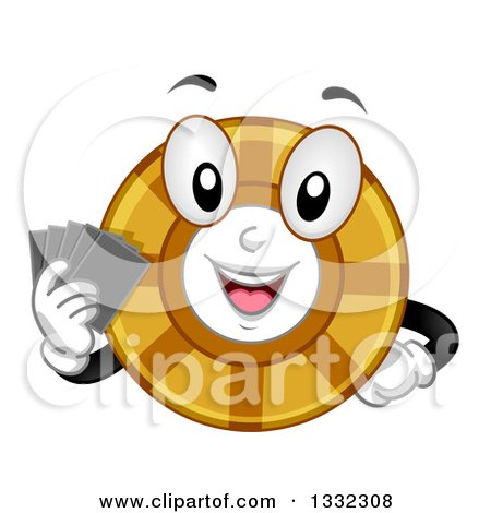 Clipart of a Cartoon Poker Chip Character Holding Cards - Royalty Free Vector Illustration by BNP Design Studio