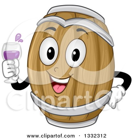 Clipart of a Cartoon Wine Barrel Character Holding a Glass - Royalty Free Vector Illustration by BNP Design Studio