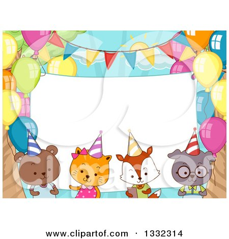 Clipart of a Blank Sign Behind Cute Party Animals with Balloons - Royalty Free Vector Illustration by BNP Design Studio