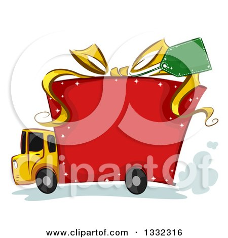 Clipart of a Big Rig Truck with a Gift Box Body - Royalty Free Vector Illustration by BNP Design Studio