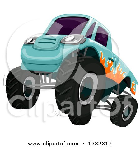 Clipart of a Revving Monster Truck with Flames Painted on the Side - Royalty Free Vector Illustration by BNP Design Studio