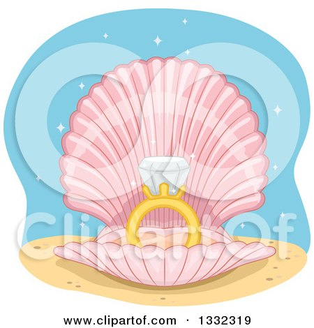 Clipart of a Diamond Wedding Ring in an Open Shell - Royalty Free Vector Illustration by BNP Design Studio
