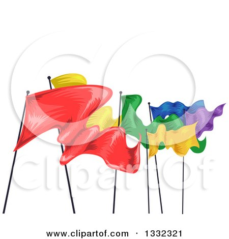 Clipart of a Row of Colorful Fluttering Flags - Royalty Free Vector Illustration by BNP Design Studio