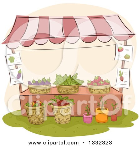 Clipart of a Sketched Farmers Market Stand with Plants and Produce - Royalty Free Vector Illustration by BNP Design Studio