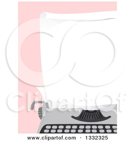 Clipart of a Blank Piece of Paper in a Typewriter over Pink - Royalty Free Vector Illustration by BNP Design Studio
