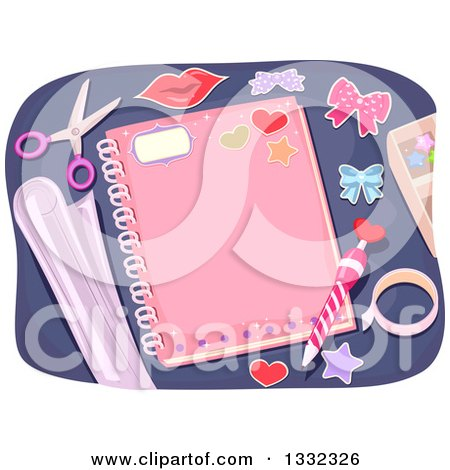 Clipart of a Personalized Pink Girly Notebook with a Pencil and Decorative Items - Royalty Free Vector Illustration by BNP Design Studio