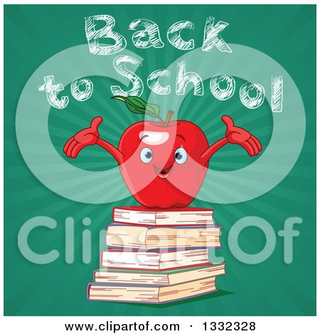 Clipart of a Welcoming Red Apple Character on a Stack of Books, Against Back to School Chalk Text over Rays on Green - Royalty Free Vector Illustration by Pushkin