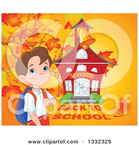 Clipart of a Happy Caucasian Boy Grasping His Backpack Strap by a School House Against a Fall Background - Royalty Free Vector Illustration by Pushkin
